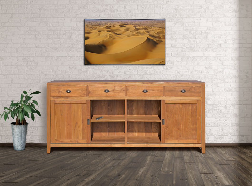 Waxed Teak Wood Rhone Buffet / Media Center, Large - La Place USA Furniture Outlet