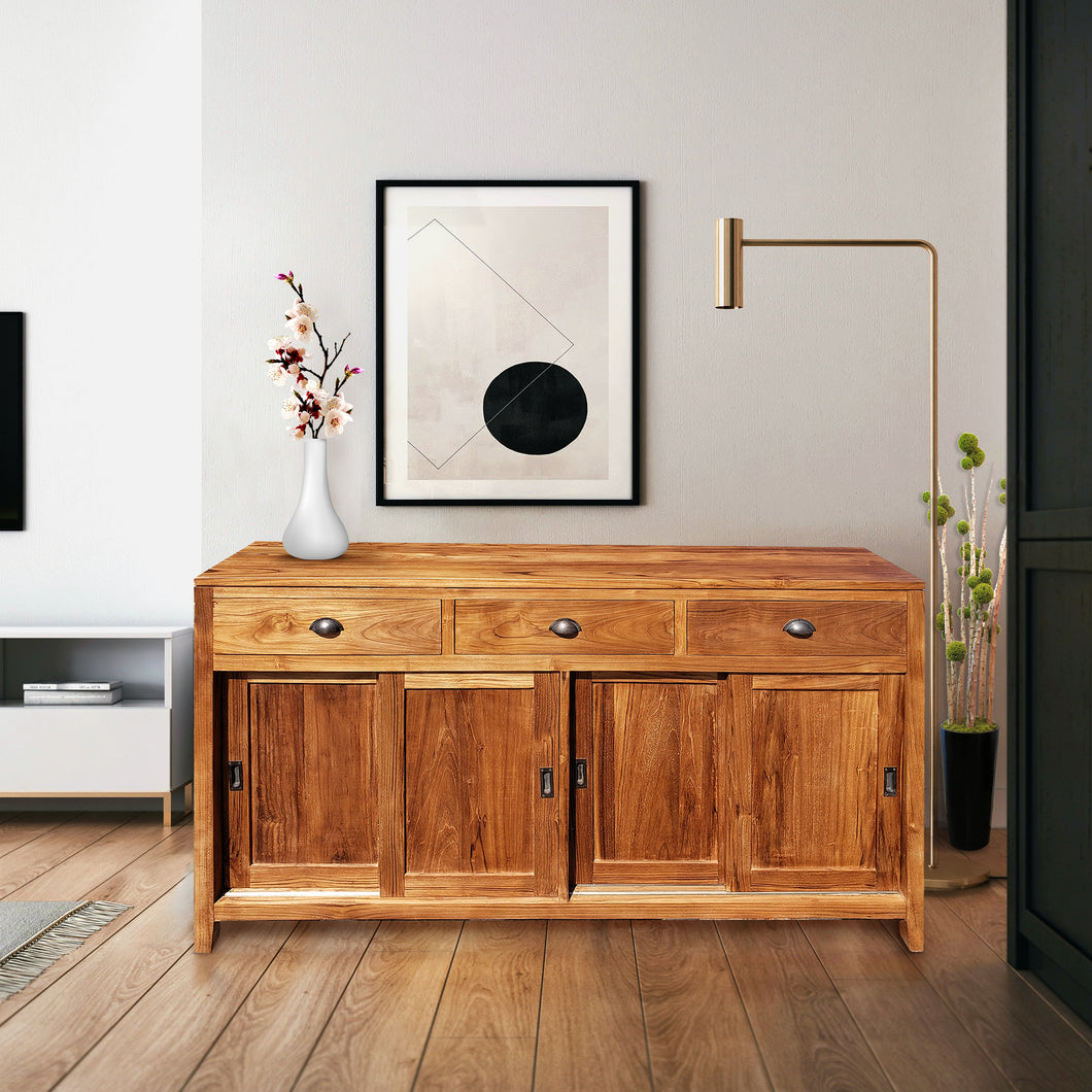 Waxed Teak Wood Rhone Buffet/Media Center, Medium