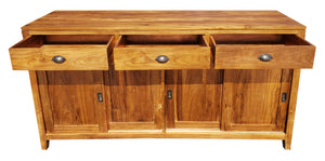 Waxed Teak Wood Rhone Buffet/Media Center, Medium - La Place USA Furniture Outlet