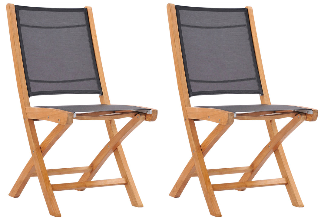 Teak Wood Miami Folding Side Chair, Black (set of 2) - La Place USA Furniture Outlet