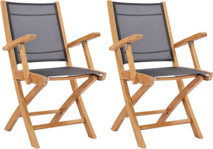 Teak Wood Miami Folding Arm Chair, Black (Set of 2) - La Place USA Furniture Outlet