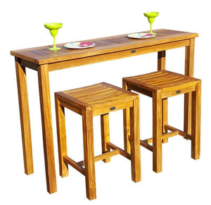 Teak Wood Santa Monica Counter Stool - La Place USA Furniture Outlet