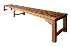 Teak Wood Santa Monica Backless Bench, 10 foot - La Place USA Furniture Outlet