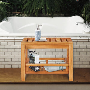 Teak Wood Bahama Shower Stool, 23 inch