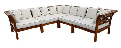 Teak Wood Long Island Sectional, 5 Pieces - La Place USA Furniture Outlet