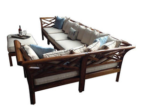 Teak Wood Long Island Ottoman - La Place USA Furniture Outlet