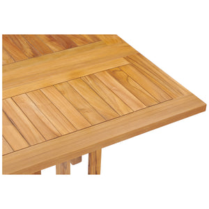 Teak Wood Hatteras Square Folding Patio Table, 35 Inch