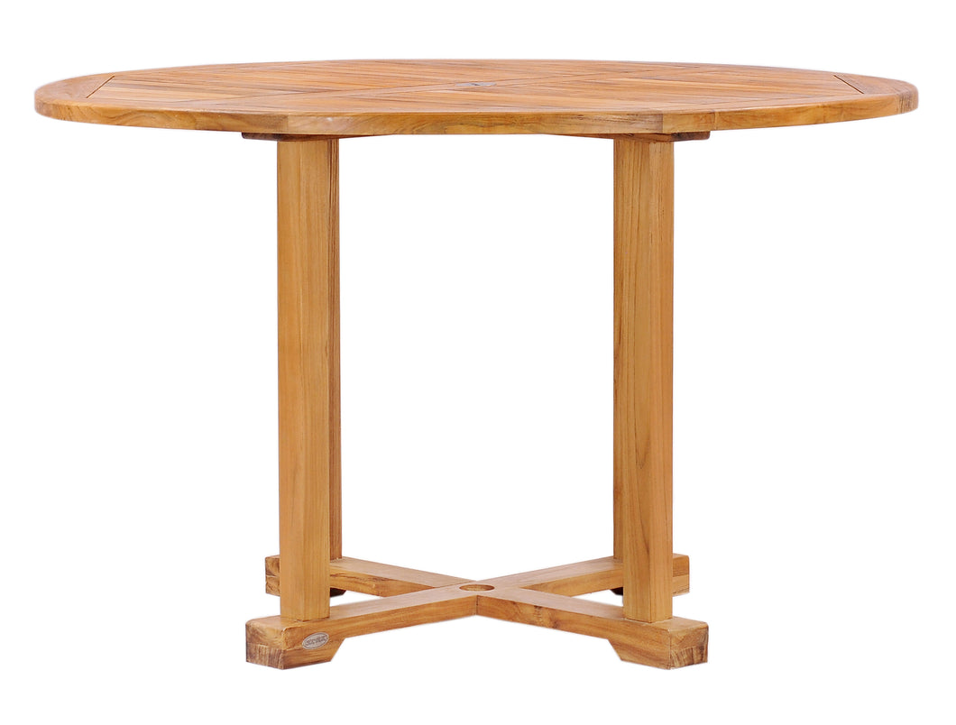Teak Wood Hatteras Round Outdoor Patio Dining Table, 48 Inch - La Place USA Furniture Outlet