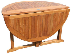 Teak Wood Butterfly Round Outdoor Patio Folding Table, 47 Inch - La Place USA Furniture Outlet
