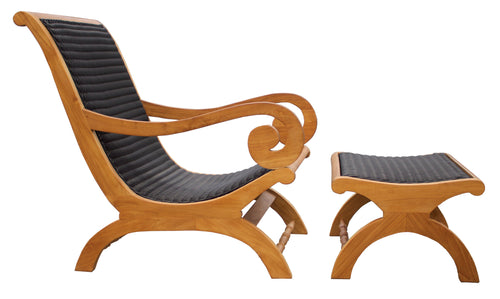 Kenya Indoor/Outdoor Teak Wood Lazy Chair Including Footstool - La Place USA Furniture Outlet