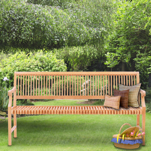 Teak Wood Castle Bench with Arms, 6 ft