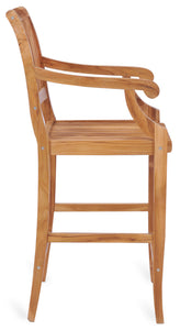 Teak Wood Castle Barstool with Arms - La Place USA Furniture Outlet