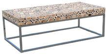 Teak Wood Coffee Table With Stainless Base - La Place USA Furniture Outlet