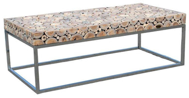 Teak Coffee Table With Stainless Base-Chic Teak