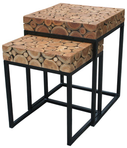 Teak Wood Nesting Side Tables - Set of 2 - La Place USA Furniture Outlet