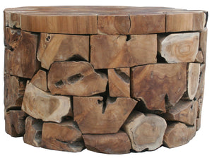 "Teak Round Akara Coffee Table - 28"" Wide - La Place USA Furniture Outlet"