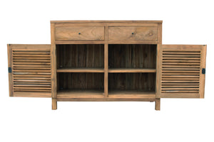 Recycled Teak Wood Louvre Cabinet with 2 Doors & 2 Drawers - La Place USA Furniture Outlet