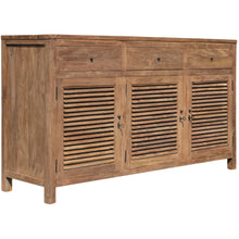 Recycled Teak Wood Louvre Cabinet with 3 Doors & 3 Drawers - La Place USA Furniture Outlet