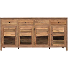 Recycled Teak Wood Louvre Cabinet 4 Doors 4 Drawers - La Place USA Furniture Outlet