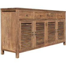 Recycled Teak Louvre Cabinet 4 Doors 4 Drawers - La Place USA Furniture Outlet