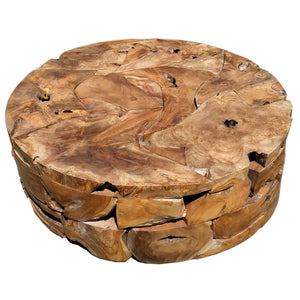 Recycled Teak Wood Round Akar Coffee Table, 47 Inch