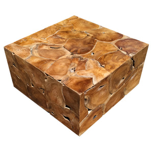 Recycled Teak Wood Square Akar Coffee Table, 32 Inch