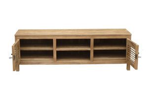 Recycled Teak Wood Louvre Media Center with 2 Doors and 2 Open Shelves