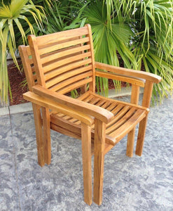 Teak Wood Italy Stacking Arm Chair - La Place USA Furniture Outlet