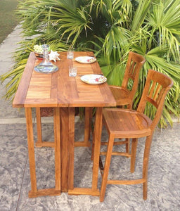 Teak Hatteras Rectangular Folding Bar Table, 56 x 28 Inch - La Place USA Furniture Outlet