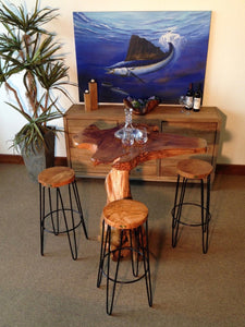 Teak Wood Round Bar Stool - La Place USA Furniture Outlet