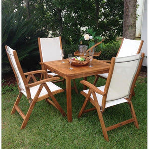 Teak Wood Florence Outdoor Patio Bistro Table, 35 Inch - La Place USA Furniture Outlet