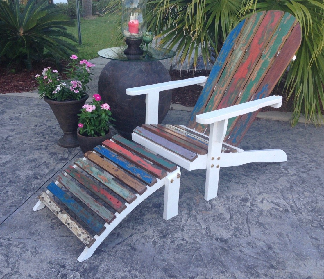Adirondack Chair Including Footstool Made From Recycled Boats – La ...