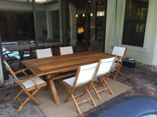 "Teak Wood Cross Indoor/Outdoor Dining Table 87"" x 40"" - La Place USA Furniture Outlet"