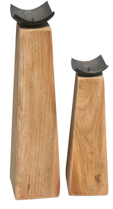 Prisma Recycled Teak Wood Candleholder, set of 2 - La Place USA Furniture Outlet
