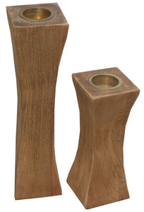 Slim Recycled Teak Wood Candleholder, set of 2 - La Place USA Furniture Outlet