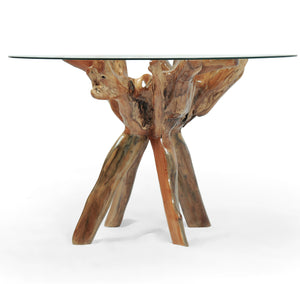 Teak Wood Root Bar Table Including 47 Inch Glass Top - La Place USA Furniture Outlet