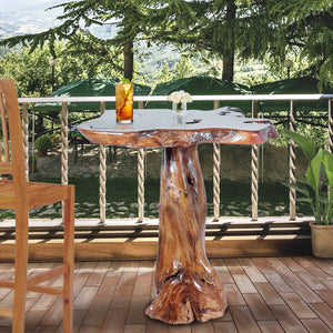 Teak Wood Slab Rustic Bar Table