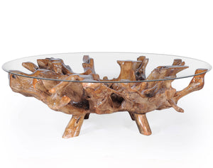 "Teak Wood Root Coffee Table including a 63"" Round Glass Top - La Place USA Furniture Outlet"