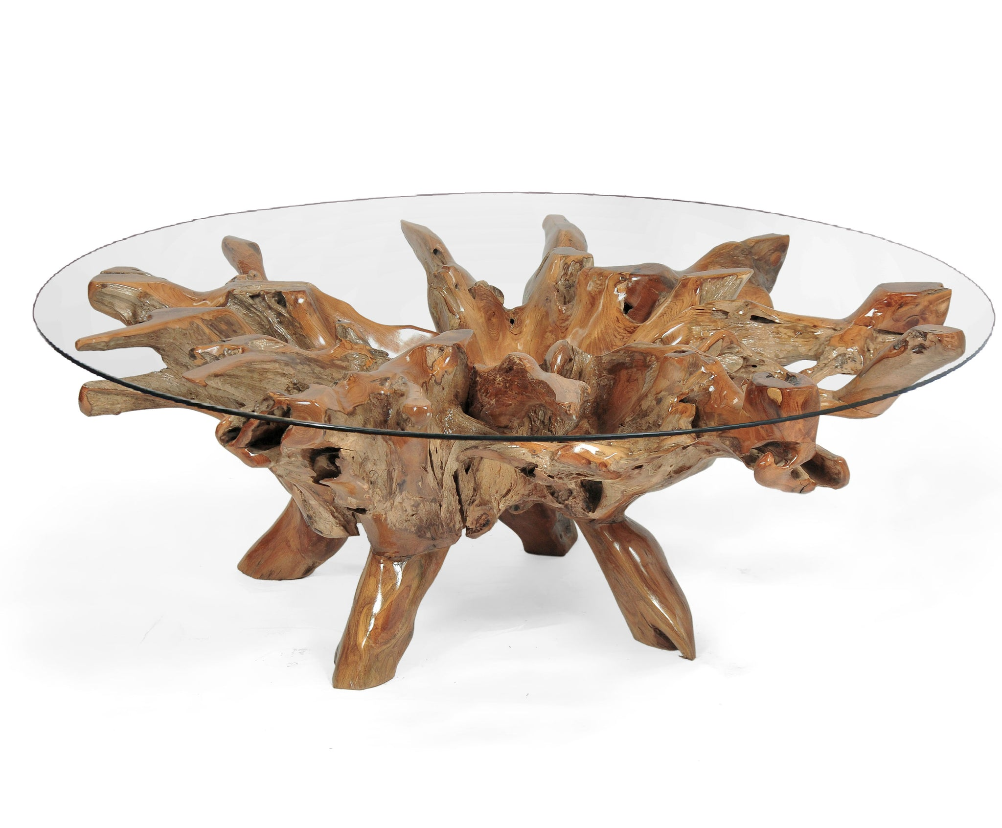 Teak Wood Root Coffee Table Including 55 Inch Round Glass