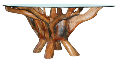Teak Root Coffee Table Including 43 Inch Glass Top