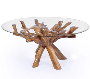 Teak Wood Root Dining Table Including a Round 48 Inch Glass Top - La Place USA Furniture Outlet