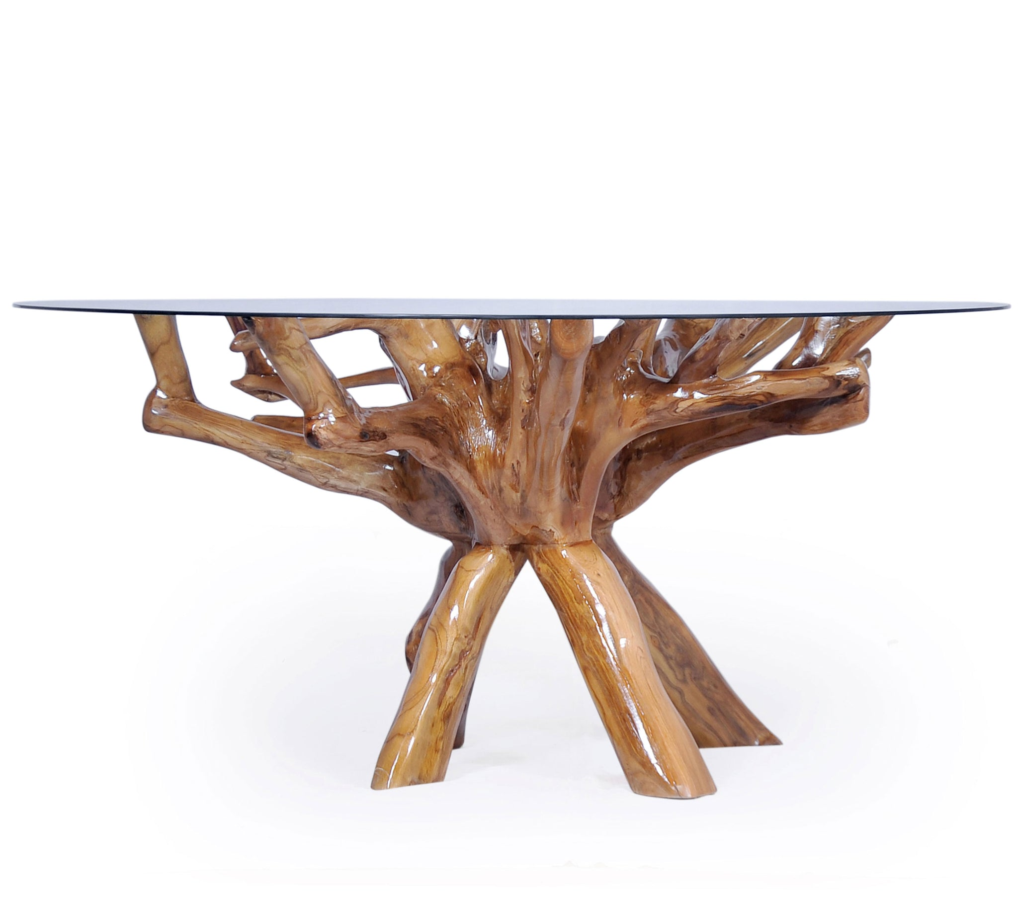 Teak Wood Root Dining Table Including A Round 48 Inch Glass Top La Place Usa Furniture Outlet