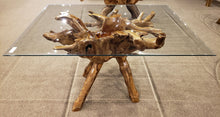"Teak Wood Root Dining Table Including a 55"" x 43"" Glass Top - La Place USA Furniture Outlet"