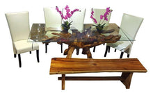 Teak Wood Root Dining Table Including a 71 x 40 Inch Glass Top - La Place USA Furniture Outlet