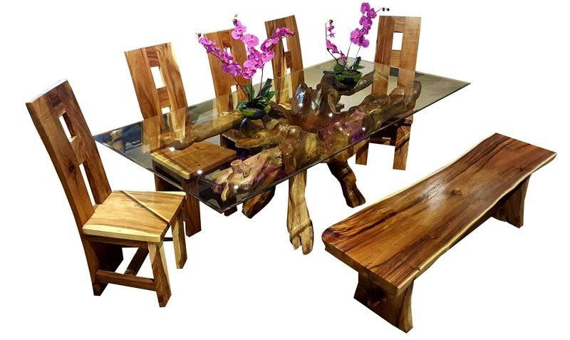 Wondrous Teak Wood Root Dining Table Including A 71 X 40 Inch Glass Gamerscity Chair Design For Home Gamerscityorg