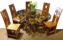 Teak Wood Root Dining Table Including a 63 Inch Round Glass Top - La Place USA Furniture Outlet