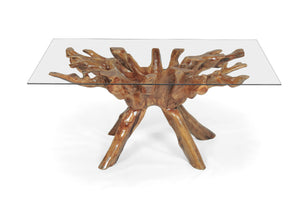 Teak Wood Root Dining Table Including 87 x 43 Inch Glass Top - La Place USA Furniture Outlet