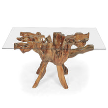 Teak Wood Root Dining Table with 55 inch Square Glass Top