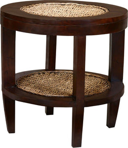 Dakar Mahogany and Banana Leaf Side Table - La Place USA Furniture Outlet