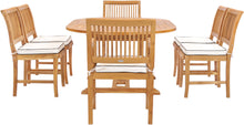 7 Piece Teak Wood Castle Patio Dining Set with Round to Oval Extension Table, 4 Side Chairs and 2 Arm Chairs - La Place USA Furniture Outlet